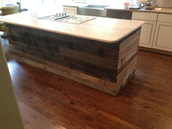 T & G barn wood; Used to face a kitchen island
