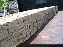 Hand hewn 10 x 10 x 12 ft no-mortise pockets for columns