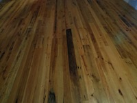 Barn Wood, Mixed oak floor; 3-4-5 inch faces, two coats high gloss