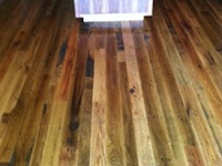 Barn wood Floor, 3-4-5 inch faces; Kitchen install