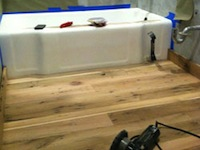 Barn wood Floor install; Condo in South Beach , Miami Fla