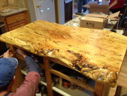 Curly Maple live edge sawn kitchen island install